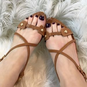 Tod's Luggage Tan Strappy Kitten Heel Sandals 10.5